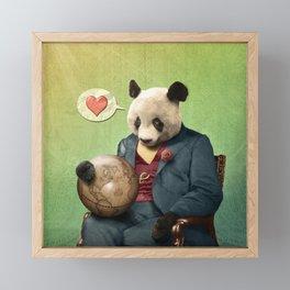 Wise Panda: Love Makes the World Go Around! Framed Mini Art Print