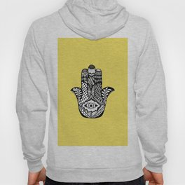 Hand Drawn Hamsa Hand of Fatima on Yellow Hoody