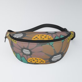 Autumn flowers, leaves and mushrooms Fanny Pack