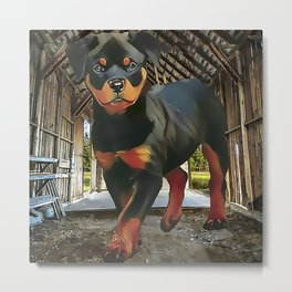 Rottweiler Puppy in the Barn Metal Print