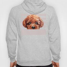 Toy poodle red brown Dog illustration original painting print Hoody