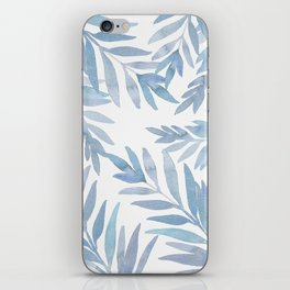 Muted Blue Palm Leaves iPhone Skin