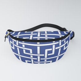 Tangled squares Chinoiserie in blue & white Fanny Pack