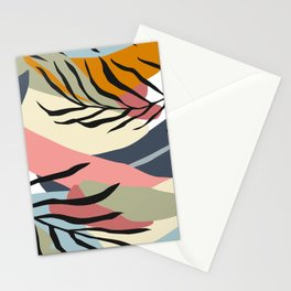 Trendy Abstract Nature Pattern In Mid-Century Modern Hues Stationery Cards