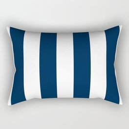Vertical Stripes - White and Oxford Blue Rectangular Pillow