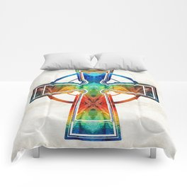 Colorful Celtic Cross by Sharon Cummings Comforters