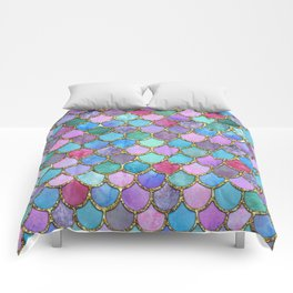 Colorful Gold Mermaid Scales Comforters