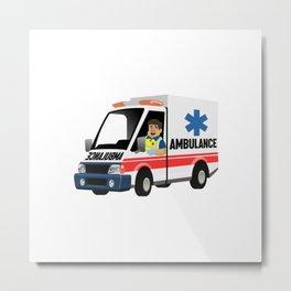 Cartoon Set Paramedic Driving Ambulance Metal Print