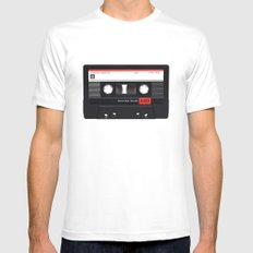 Old School Tape White MEDIUM Mens Fitted Tee