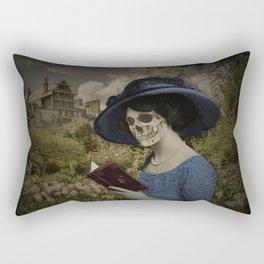 Skull woman reading a book Rectangular Pillow
