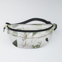 Green Botanical Flowers Fanny Pack