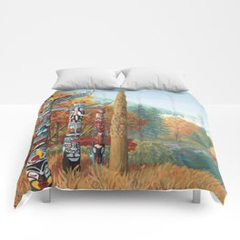 Vancouver Two Worlds Collide Landscape Painting Comforters