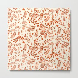 Botanical Floral Pattern with branches, leaves and berries in orange palette Metal Print