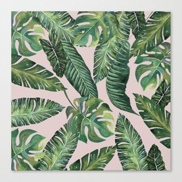 Jungle Leaves, Banana, Monstera Pink #society6 Canvas Print