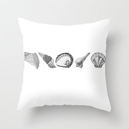 Seashell Doodle Art in Black and White Throw Pillow