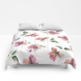 Watercolor roses. Delicate pink flowers. Comforters