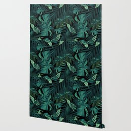Tropical Jungle Night Leaves Pattern #1 #tropical #decor #art #society6 Wallpaper