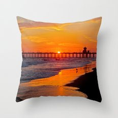 Huntington Beach Sunset 2/28/14 b Throw Pillow