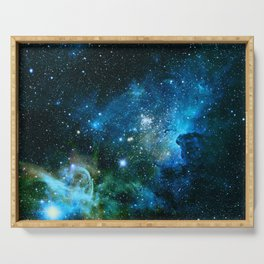 Carina Nebula Blue Turquoise Teal Green Serving Tray