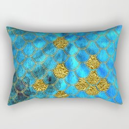 Blue Aqua Turquoise And Gold Glitter Mermaid Scales -Beautiful Mermaidscales Pattern Rectangular Pillow