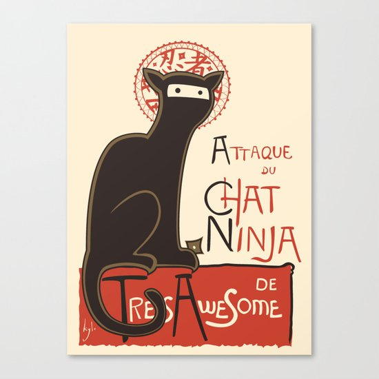 A French Ninja Cat (Le Chat Ninja) Canvas Print