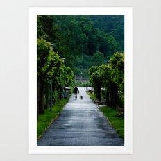 Man Walking Dog in St. Goar, Germany Art Print