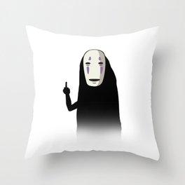 No Face and a Bird Throw Pillow