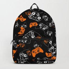 Video Game Orange on Black Backpack