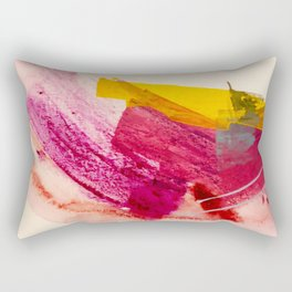 Pink Lemonade: a minimal, colorful abstract mixed media with bold strokes of pinks, and yellow Rectangular Pillow