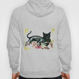 Coffee, Orchid and Black Cat Vintage Style Large Format XXL Hoody
