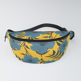 Blue Flowers with Banana Leaves with Yellow Fanny Pack