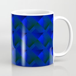 Volumetric grid of cornflower squares with black cores of stripes and chaos of shadows. Coffee Mug
