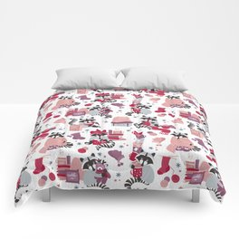 Hygge raccoon // white background Comforters