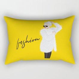 Girl in fluffy fur Rectangular Pillow