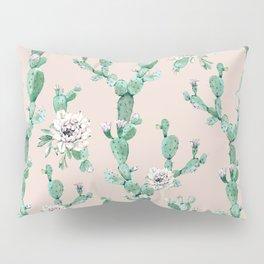 Green Coral Pink Cactus Rose Pattern Pillow Sham