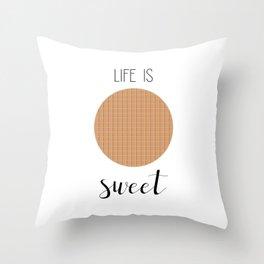 Life Is Sweet Stroopwafel Throw Pillow