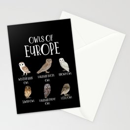 Types of Owls, Owl Lover Fan Gift Stationery Cards