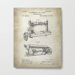Sewing machine patent 13, 1885 Drawing Metal Print