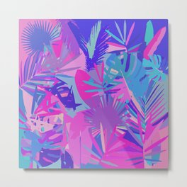 Tropical Leaves Abstract Metal Print
