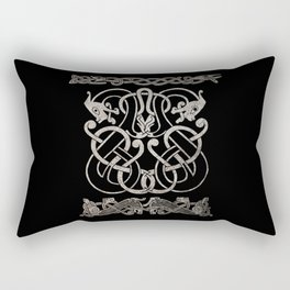 Old norse design - Two Jellinge-style entwined beasts originally carved on a rune stone in Gotland. Rectangular Pillow
