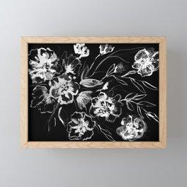 Boldly White - painted ink flowers on black background Framed Mini Art Print