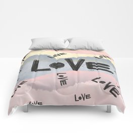watercolor art with inspiration love on color pink blue yellow background Comforters