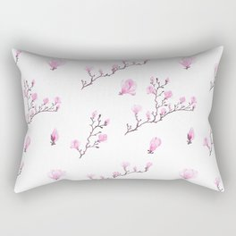 Pink watercolor magnolia pattern Rectangular Pillow