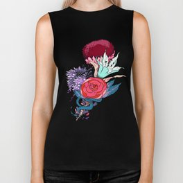 Chrysanth Wisteria & Lily - & Rose  Biker Tank