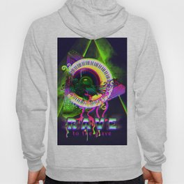 Rave to the grave crow Hoody