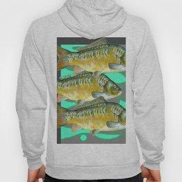 SCHOOL OF GREENISH-YELLOW FISH  IN GREY ART Hoody