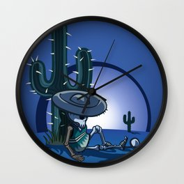 Cactus and skeleton at night Wall Clock