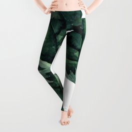 Banana Leaves Pattern Green Leggings