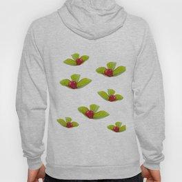 One ripe strawberry fruit lying on leaf Hoody