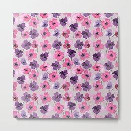 Watercolor Florals// Anemone Pattern Metal Print